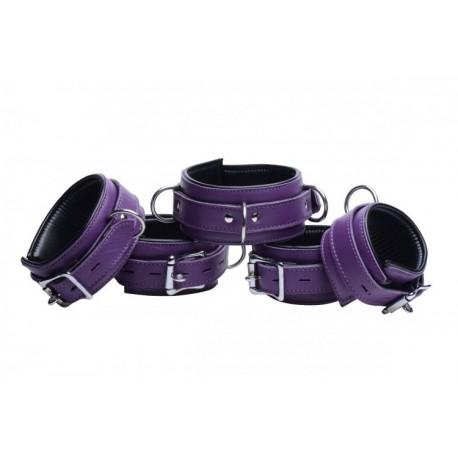 Purple 5 Piece Locking Leather Bondage Set