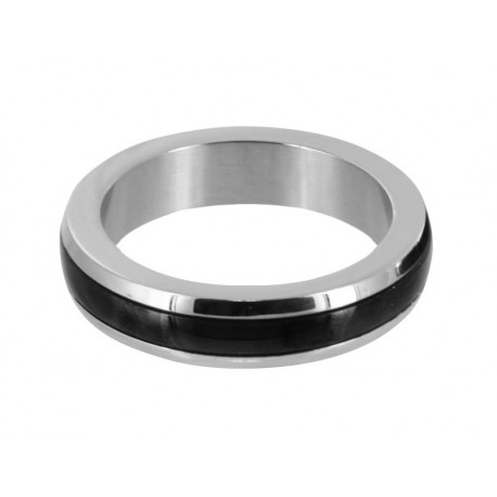 Stainless Steel Medium Cock Ring with Black Band