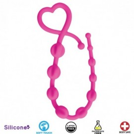 Hearts n Spurs Pink Silicone Anal Beads