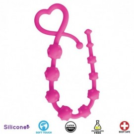 Hearts n Studs Pink Silicone Anal Beads