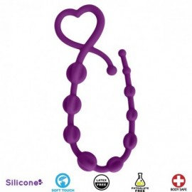 Hearts n Spurs Purple Silicone Anal Beads