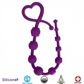 Hearts n Studs Purple Silicone Anal Beads