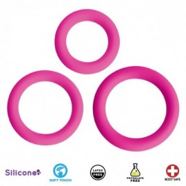 Love Ring Trio Pink Silicone Cock Rings