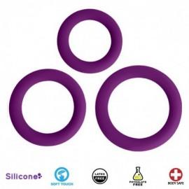 Love Ring Trio Purple Silicone Cock Rings