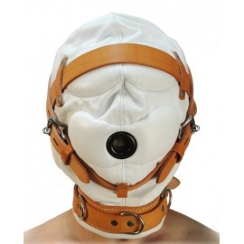 Total Sensory Deprivation White Leather S/M Hood