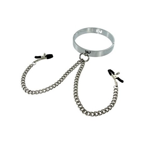 Chrome Slave S/M Collar with Nipple Clamps