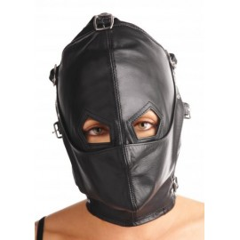 Asylum S/M Leather Hood with Removable Blindfold and Muzzle