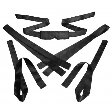 Bordeaux Black 5 Piece Satin Bondage Set