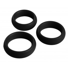 3 Piece Black Silicone Cock Ring Set