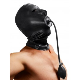Rubber Hood with Built-in Inflatable Gag