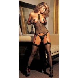 Fishnet Open-Bust BLACK 3-Piece Set