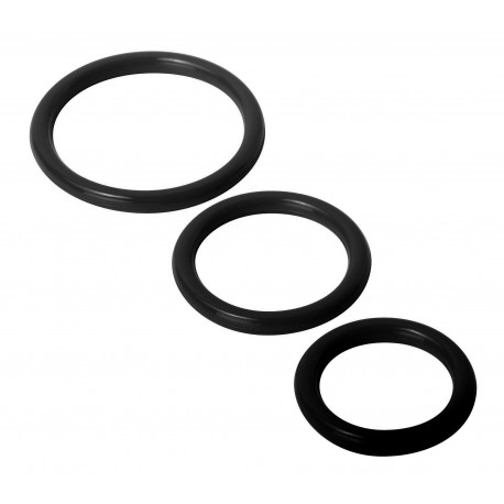 Trinity Black Silicone Cock Rings