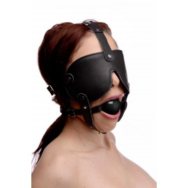 Black Gag and Blindfold Head Harness