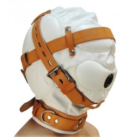 Total Sensory Deprivation White Leather Hood - Medium/Large