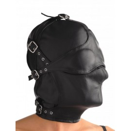 Asylum M/L Leather Hood with Removable Blindfold and Muzzle
