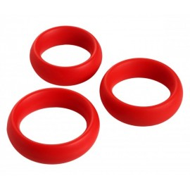 3 Piece Red Silicone Cock Ring Set
