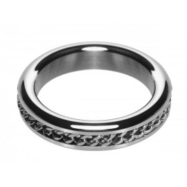 Metal 1.75 In Cock Ring with Chain Inlay