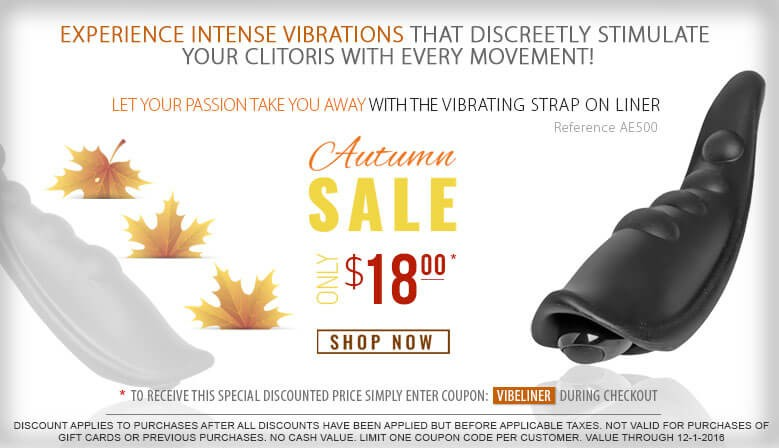 Experience Discreet Clitoral Stimulation for the Lowest Price Ever Fall Sale with the Vibrating Panty Liner at Climatic Moments.