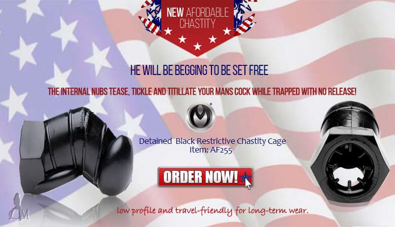 Punish Your Mans Misbehaved Member with the New Afforadable Travel Friendly Detained Black Restrictive Chastity Cage!