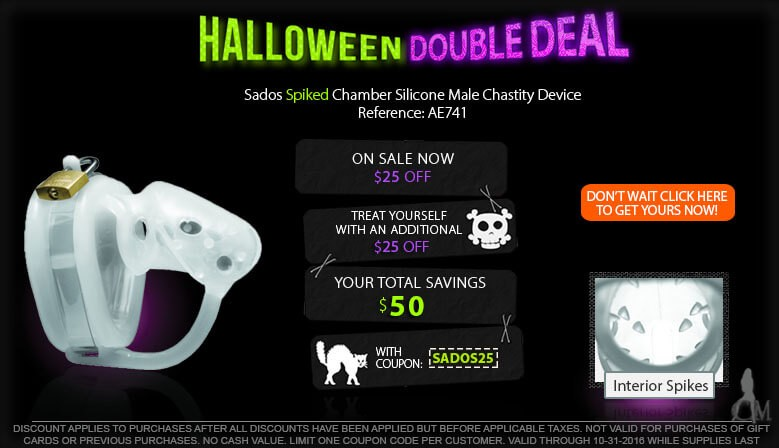 Take Advantage of our New Halloween Double Deal and Make Him Scream with a Sados Spiked Chamber Silicone Male Chastity Device AE741