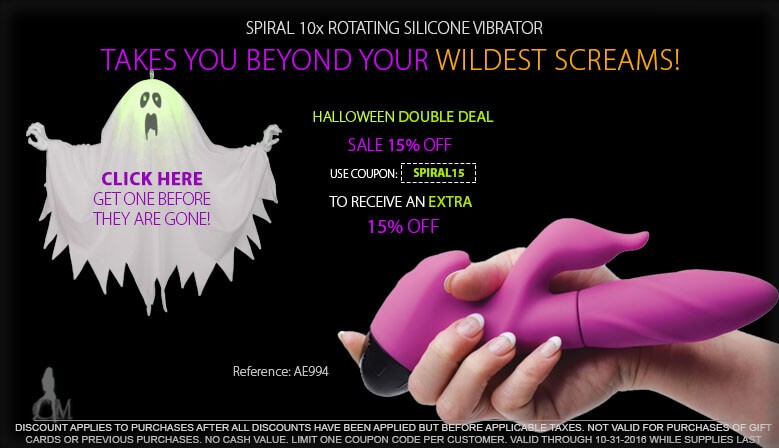 Take Advantage of our New Double Deals for Halloween on the Spiral 10x Rotating Silicone Vibe AE994 For a Limited Time